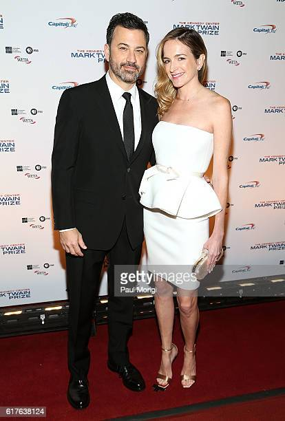 Talk Show Host Jimmy Kimmel and his wife Molly McNearney arrive to The Kennedy Center Mark Twain Prize Honors Bill Murray event at The Kennedy Center...