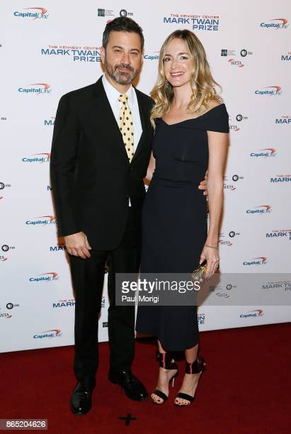 Talk show host Jimmy Kimmel and his wife Molly McNearney arrive to the 2017 Mark Twain Prize for American Humor at The Kennedy Center on October 22...