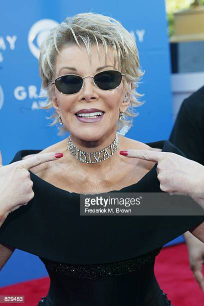 Talk show host Joan Rivers attends the 44th Annual Grammy Awards at Staples Center February 27 2002 in Los Angeles CA