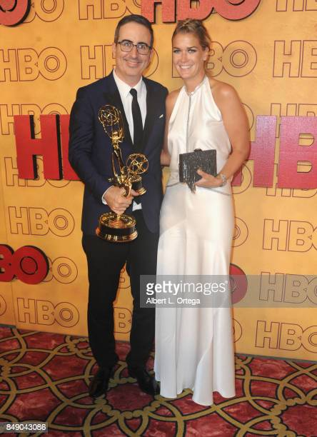 Talk show host John Oliver and wife Kate Norley arrive for the HBO's Post Emmy Awards Reception held at The Plaza at the Pacific Design Center on...