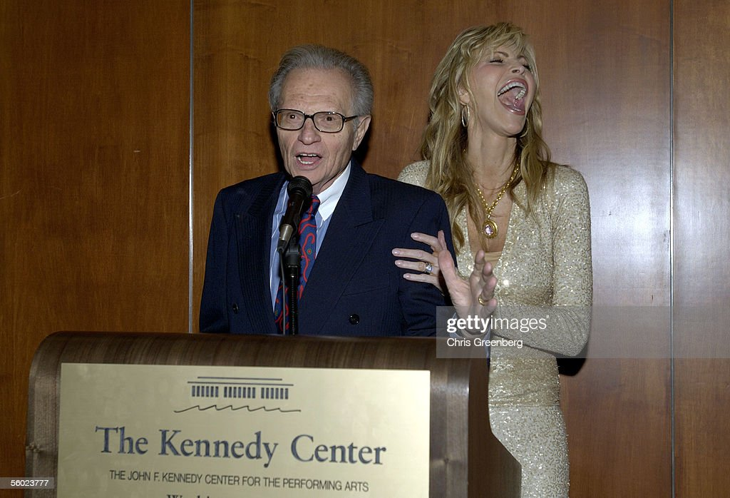 Talk Show Host Larry King And His Wife Shawn Laugh As They Thank Invited