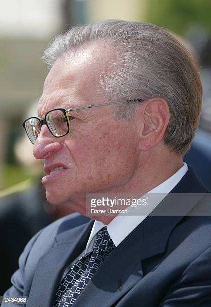 Talk show host Larry King attends the memorial tribute for actor and comedian Bob Hope at the Academy of Television Arts Sciences August 27 2003 in...