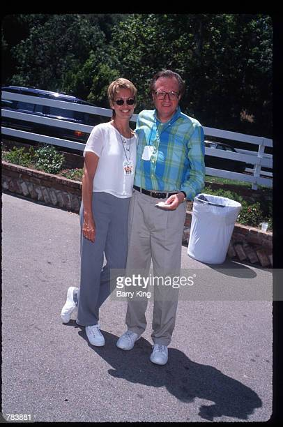Talk show host Larry King poses with Cyndy Garvey at the Pediatric AIDS Foundation Fundaiser June 9 1996 in Los Angeles CA The Pediatric AIDS...