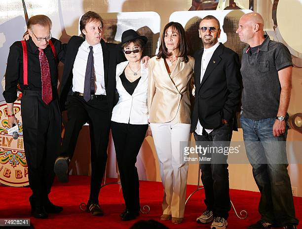 Talk show host Larry King Sir Paul McCartney Yoko Ono Olivia Harrison Ringo Starr and Cirque du Soleil founder Guy Laliberte pose during a...