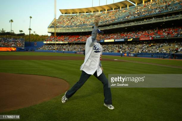 TV talk show host Larry King throwing the ceremonial first pitch at Dodger Stadium in Los Angeles April 24 2004
