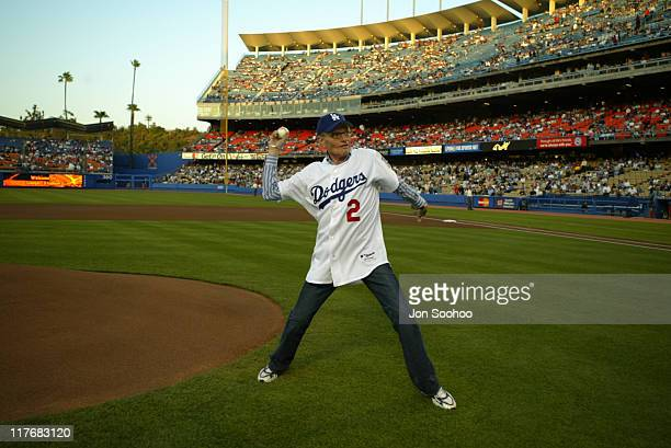 TV talk show host Larry King throws out the ceremonial first pitch at Dodger Stadium in Los Angeles April 24 2004