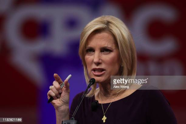 Talk show host Laura Ingraham speaks during CPAC 2019 February 28 2019 in National Harbor Maryland The American Conservative Union hosts the annual...
