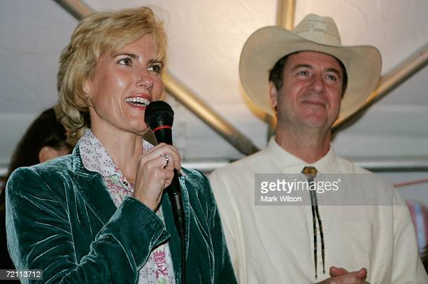 Talk show host Laura Ingraham speaks while standing with US Senator George Allen during his 11th annual Hoe Down fundraiser October 7 2006 in Maidens...
