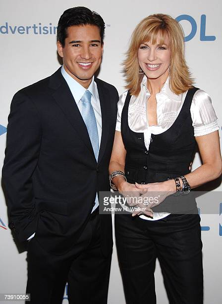 Talk show host Leeza Gibbons and actor Mario Lopez attend AOL's First Look April 17, 2007 in New York City.