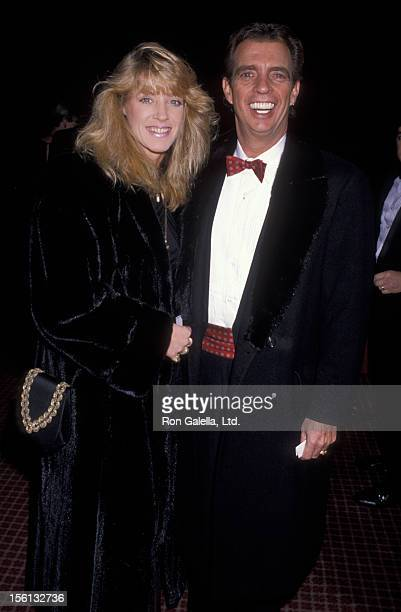 Talk Show Host Morton Downey Jr and actress Lori Krebs attending Seventh Annual Helen Hayes Awards on November 27 1989 at the Marriott Marquis Hotel...