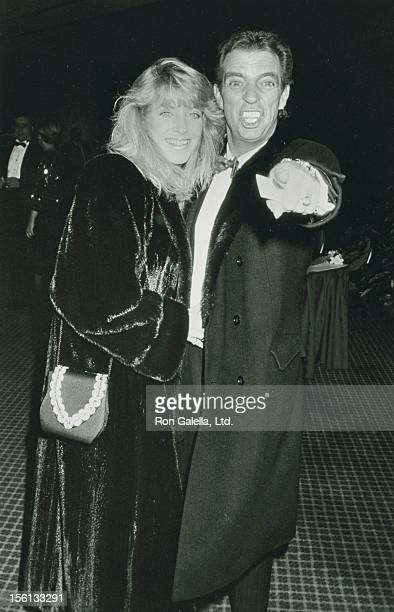 Talk Show Host Morton Downey Jr and wife Lori Krebs attend Seventh Annual Helen Hayes Awards on November 27 1989 at the Marriott Marquis Hotel in New...