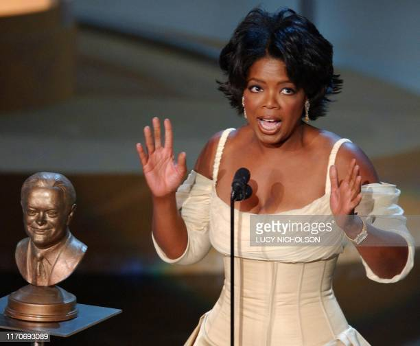 Talk show host Oprah Winfrey accepts the Bob Hope Humanitarian Award at the 54th Annual Primetime Emmy Awards, at the Shrine Auditorium in Los...