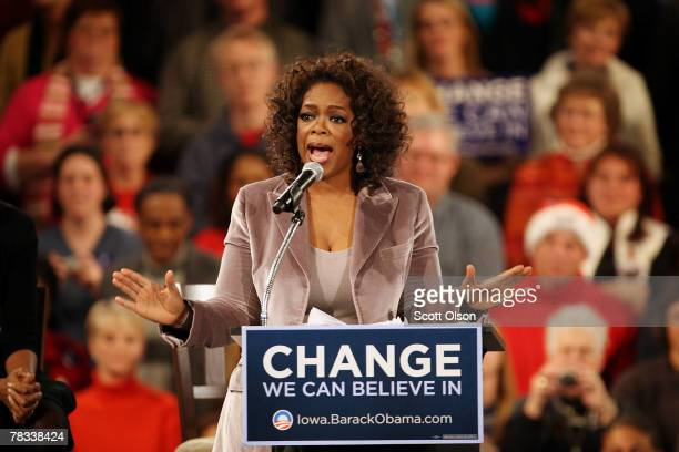 Talk show host Oprah Winfrey addresses a crowd gathered at a rally for Democratic presidential hopeful Sen Barack Obama December 8 2007 in Des Moines...