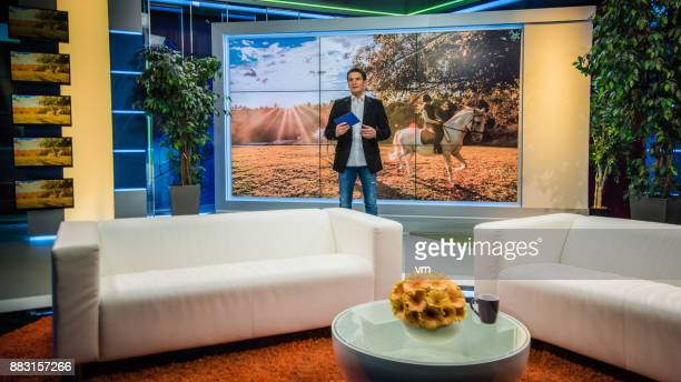 talk show host - television studio stock pictures, royalty-free photos & images