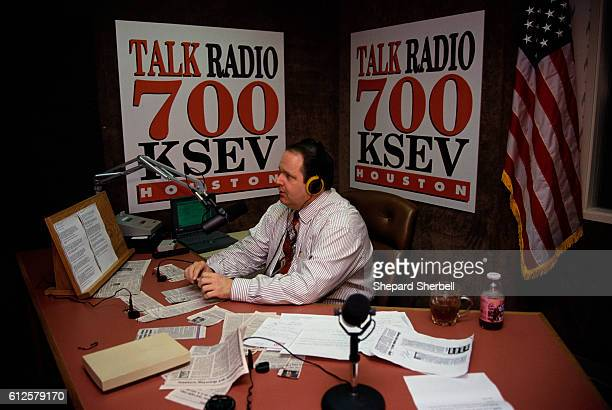 Talk show host Rush Limbaugh broadcasts his program at KSEV radio station in Houston Limbaugh is known for his controversial conservative politics