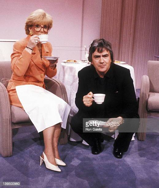 Talk show host Sally Jessy Raphael and actor Dudley Moore attend the Taping of The Sally Jessy Raphael Show on March 20 1991 at Unitel Studios in New...