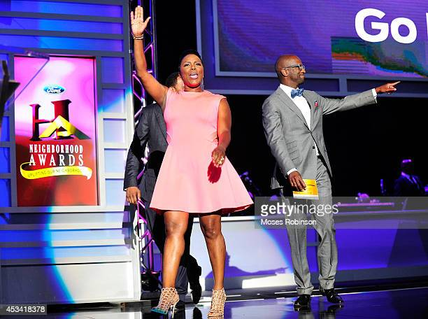 Talk show host Stephen A Smith actress Sommore and comedian Rickey Smiley present onstage at the 2014 Ford Neighborhood Awards Hosted By Steve Harvey...