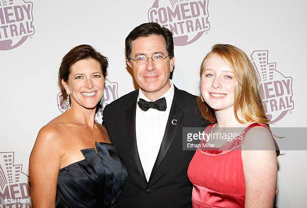 Talk show host Stephen Colbert his wife Evie Colbert and daughter Madeleine Colbert arrive at Comedy Central's Emmy Awards party at the STK...