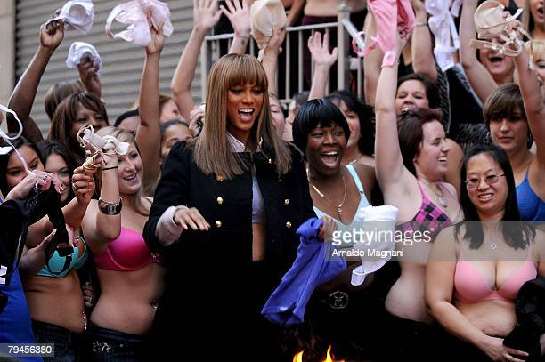 Talk show Host Tyra Banks and guests burn their bras on January 31 2008 in New York City The braburning was in honor of the book 'BOOBS' about breast...