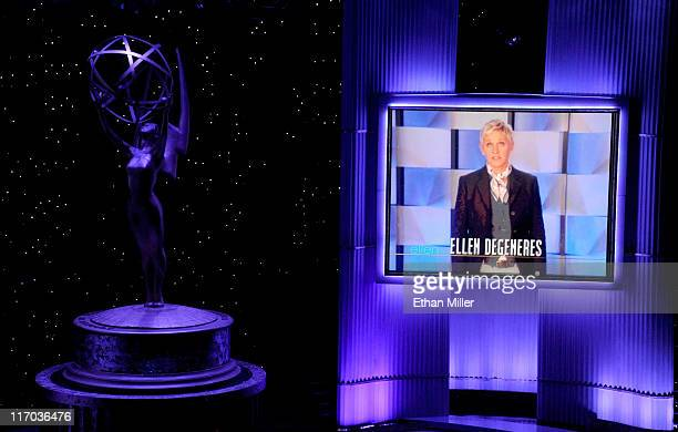 Talk show host/comedian Ellen DeGeneres appears in a video during a tribute to Oprah Winfrey during the 38th Annual Daytime Entertainment Emmy Awards...