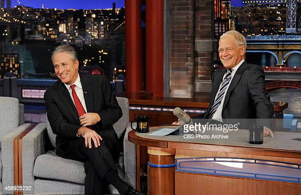 Talk show host/comedian Jon Stewart talks with Dave about his new film 'Rosewater' on the Late Show with David Letterman Thursday Nov 13 2014 on the...