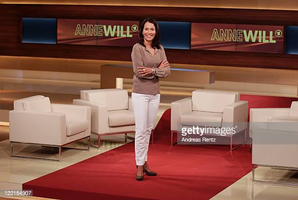 TV talk show hostess Anne Will poses during the photocall for the political talkshow 'Anne Will' on August 26 2011 in Berlin Germany