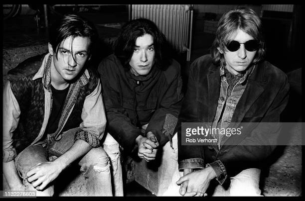 Talk Talk group shot backstage on 'Countdown' TV show Bussum Netherlands 25th February 1986 LR Paul Webb Lee Harris Mark Hollis