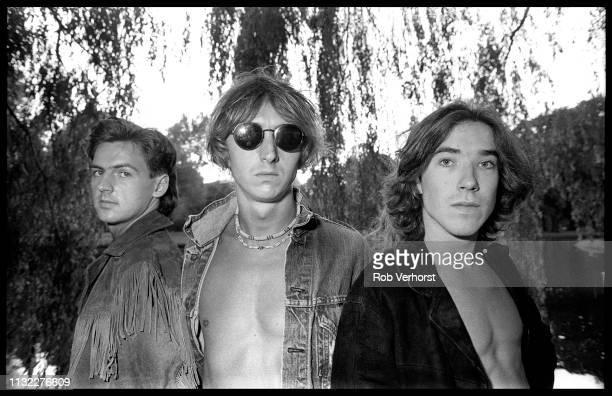 Talk Talk group shot in Vondelpark Amsterdam Netherlands 30th August 1984 LR Paul Webb Mark Hollis Lee Harris