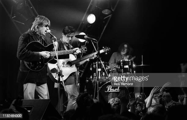 Talk Talk perform on 'Countdown' TV show Bussum Netherlands 25th February 1986 LR Mark Hollis Paul Webb Lee Harris
