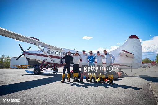 Talkeetna airport, group of 6 mountaineers are ready for Denali.