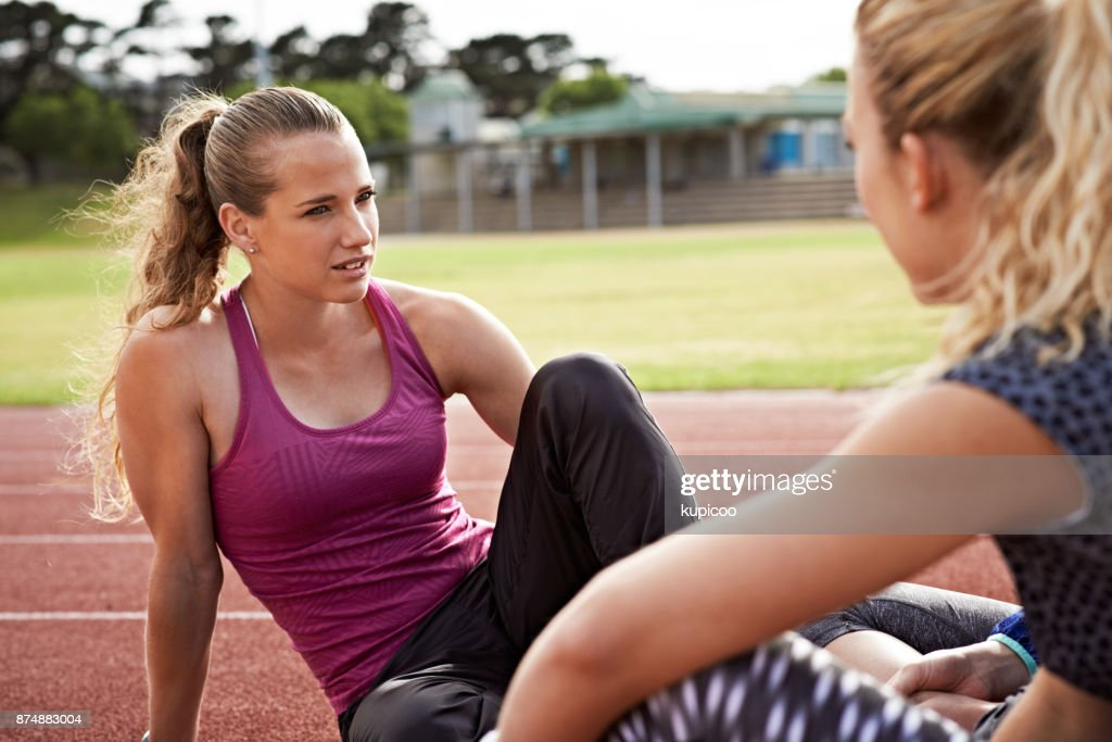 Talking about their personal bests : Stock Photo