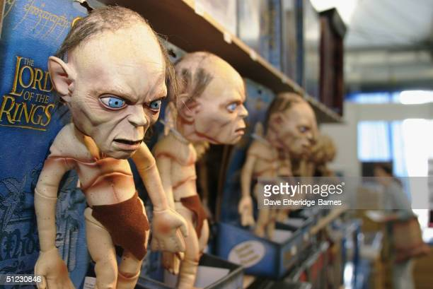 Talking Gollum dolls are seen at The Fellowship Festival 2004 aimed at J R R Tolkien fans at Alexandra Palace on August 28 2004 in London The Lord of...