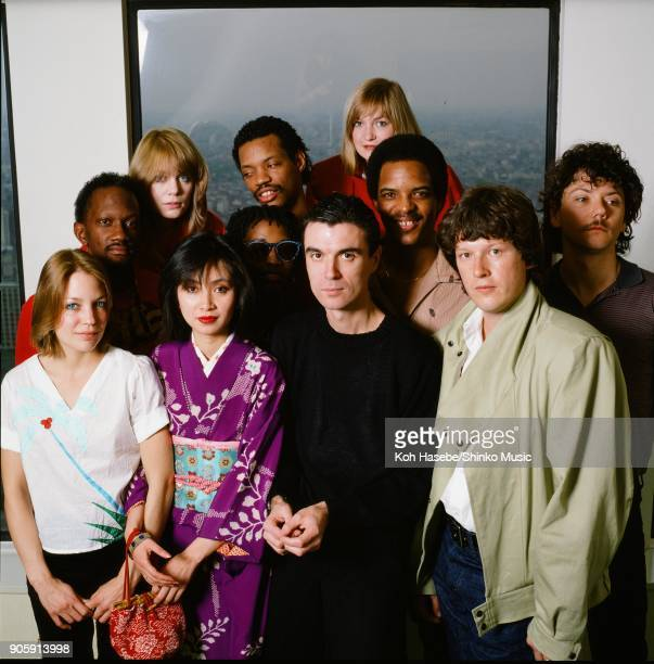 Talking Heads group portrait for Music Life magazine in a hotel room April 1982 Tokyo Japan David Byrne Tina Weymouth Alex Weir Jerry Harrison Chris...