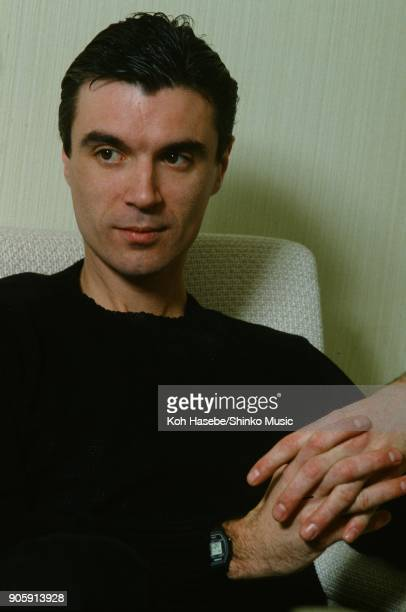 Talking Heads interviewed by Music Life magazine at a hotel room April 1982 Tokyo Japan David Byrne