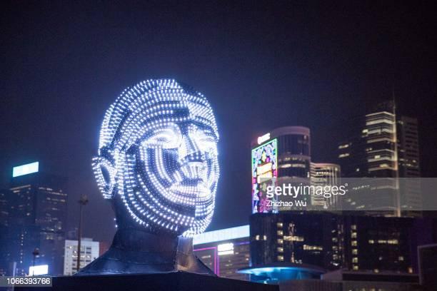 Talking Heads of Viktor Vicsek of Hungary is displayed at the 2018 Hong Kong Pulse Light Festival on November 29 2018 in Hong Kong Hong Kong