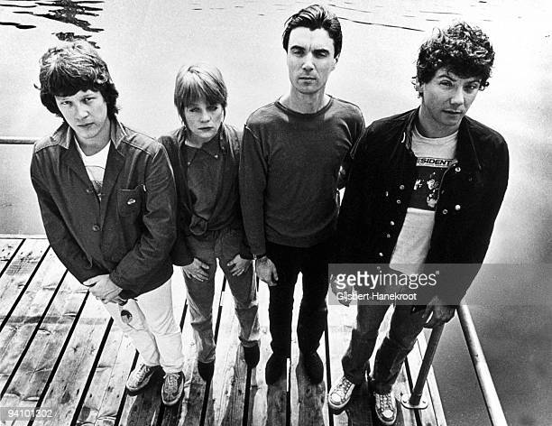 JUNE 01 Talking Heads posed in Amsterdam Netherlands in June 1977 LR Chris Frantz Tina Weymouth David Byrne Jerry Harrison