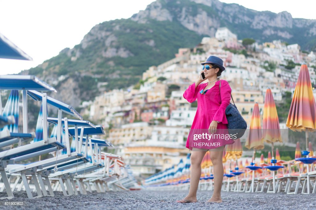 Talking on the phone in Amalfi coast : Stock Photo