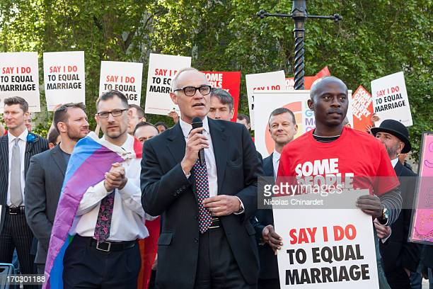 Talking to the protesters at the vigil in support of equal marriage outside Parliament