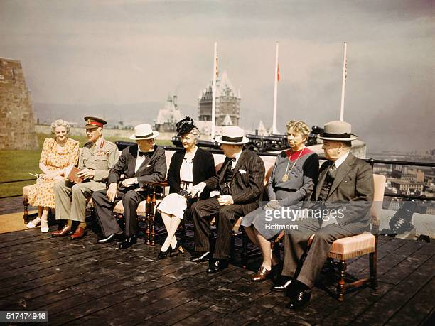 Talking together are Clementine Churchill Alexander Cambridge 1st Earl of Athelone and Governor General of Canada President Franklin D Roosevelt...