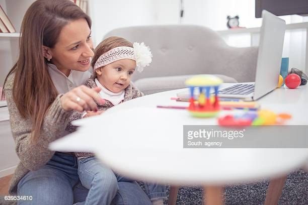 talking with dad via webcam - little girls webcam stock photos and pictures