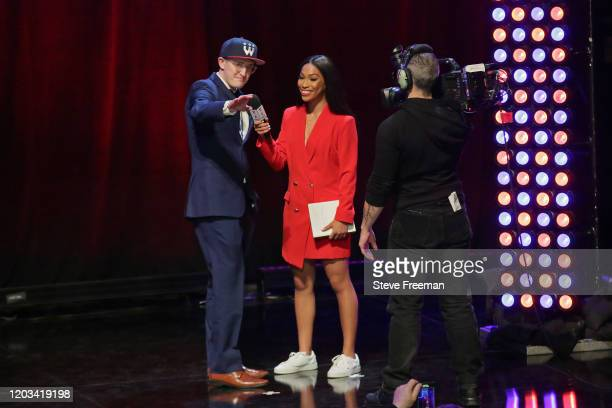 BRICH talks with Autumn Johnson during the NBA 2K League Draft on February 22 2020 at Terminal 5 in New York New York NOTE TO USER User expressly...