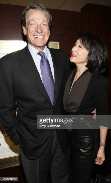 Talkshow host Maury Povich and anchor woman Connie Chung attend the New York special screening of Feast of Love at Dolby 88 Screening Room September...