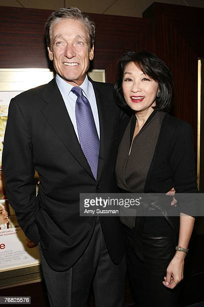 Talkshow host Maury Povich and anchorwoman Connie Chung attend the New York special screening of Feast of Love at Dolby 88 Screening Room September...