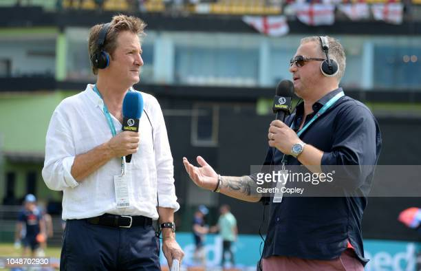 Talksport radio presenters Mark Nicholas and Darren Gough ahead of the 1st One Day International match between Sri Lanka and England at Rangiri...