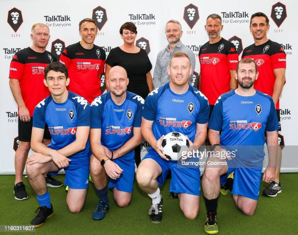 TalkTalk's Group Marketing Director David Parslow SCFC Chairman Karen Baird and Class of 92 icons Paul Scholes Phil Neville Ryan Giggs and Gary...
