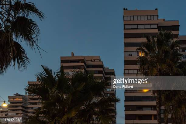 tall apartment complex with palm trees in the foreground and some lights in the windows because it is dark outside - dorte fjalland stock-fotos und bilder