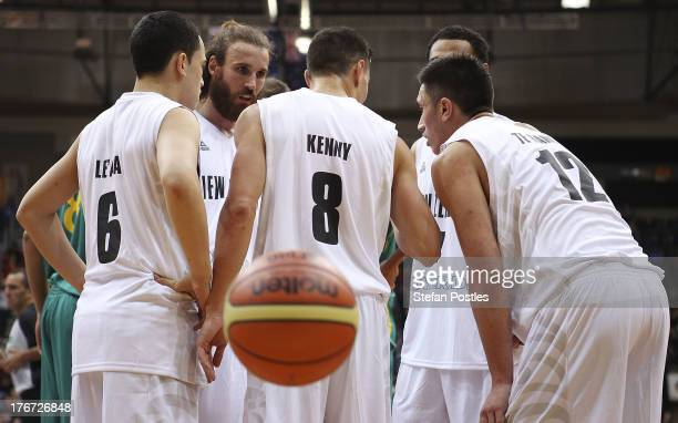 Tall Blacks players speak during the Men's FIBA Oceania Championship match between the Australian Boomers and the New Zealand Tall Blacks at AIS on...