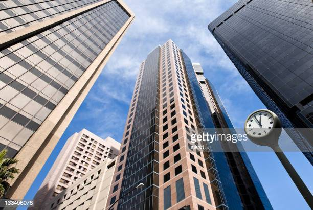 Tall buildings and clock in the financial district