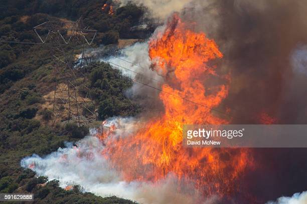 Tall flames rise near a high voltage power line tower at the Blue Cut Fire on August 17 2016 near Wrightwood California An unknown number of homes...