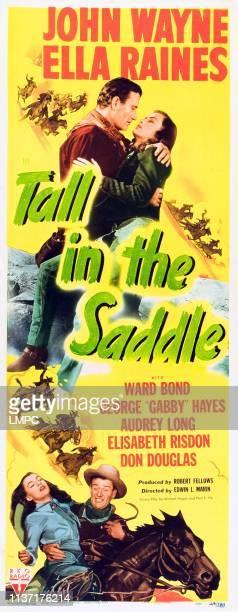 Tall In The Saddle poster top from left John Wayne Ella Raines bottom from left Ella Raines John Wayne on insert poster 1944
